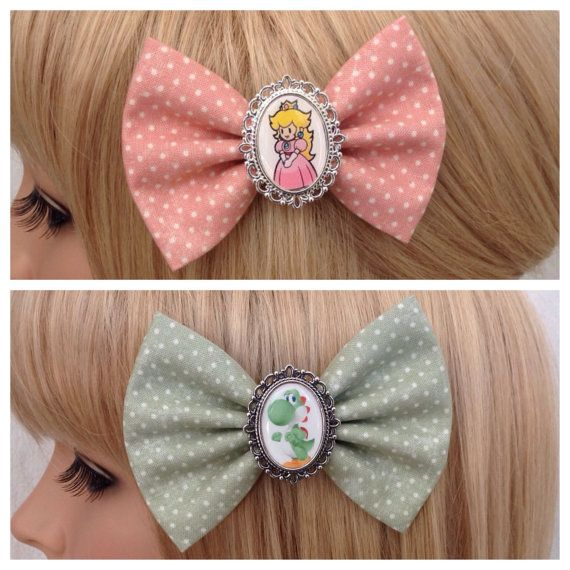 Princess Peach Yoshi hair bow clip by GrimAndProperDesigns on Etsy