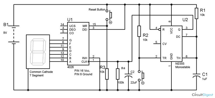 555 Timer 7 Segment Display Counter Circuit Diagram