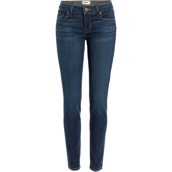 Paige Skyline Skinny Jeans ($215) ❤ liked on Polyvore featuring jeans, pants, bottoms, blue, 5 pocket jeans, paige denim, paige denim jeans, zipper jeans and super skinny jeans