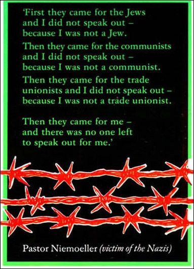 www.leedspostcards.co.uk Pastor Niemoeller quote first they came for the jews produced as a postcard by Leeds Postcards