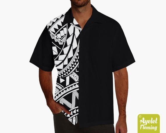 Polynesian shirt Half black white bowling shirt S-5XL Hawaiian shirt men
