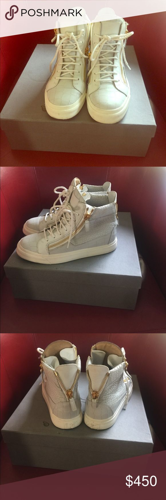 SALE ! Guiseppe Zanotti sneakers A crocodile grayish-white sneaker with gold sneakers in good condition. Authentic comes with box & dust bag ! Giuseppe Zanotti Shoes Sneakers