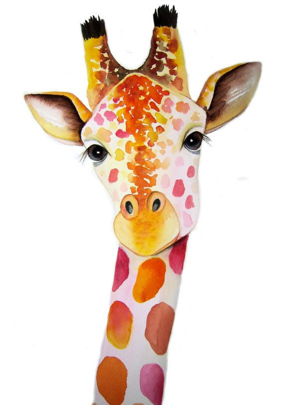 Giraffe Signed Print from an original watercolour by Vivaci