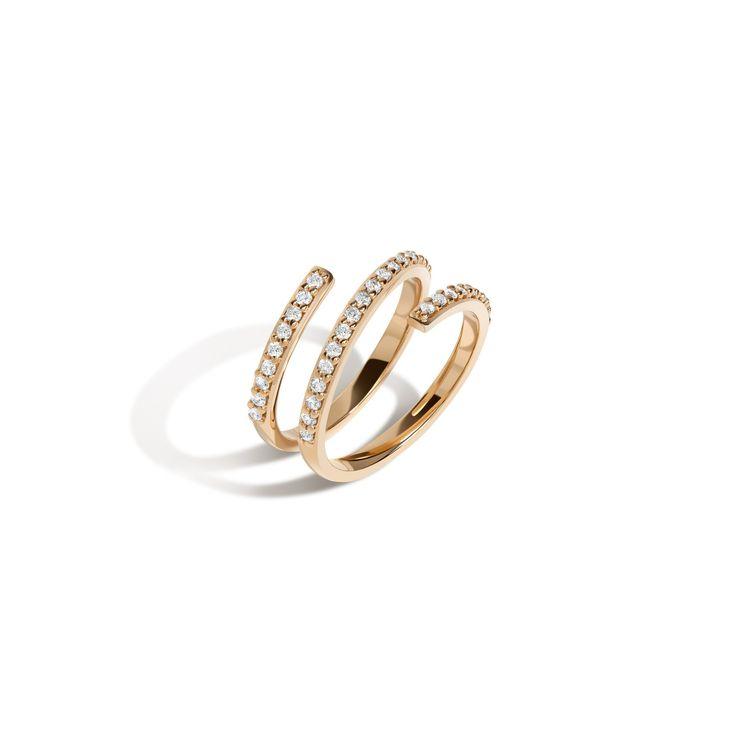Wraparound Ring with White Diamonds