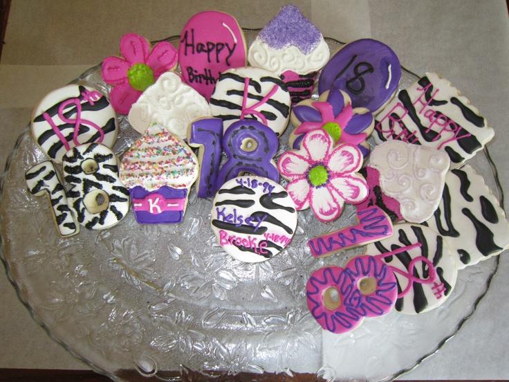 zebra print birthday cookies