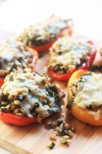 Kale & Farro Stuffed Peppers-Packed full of nutritious farro filled with protein and fiber. Perfect weeknight dinner with a large green salad. What do you do when you have peppers to use and yo…