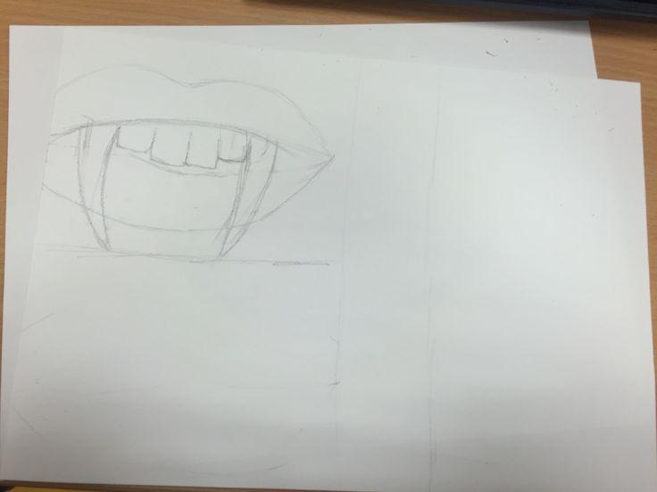 Bij dit plaatje maak ik nog een schets en dan doe ik er ideeën bij.  Hierbij heb ik vampier tanden bij de mond getekend. De volgende les ga ik nog meer erbij doen zoals achtergronden en kleine decoratie dingetjes. Hierbij ging goed de ideetjes tekenen maar minder goed de ideetjes bedenken. Dat vond ik af en toe best lastig.
