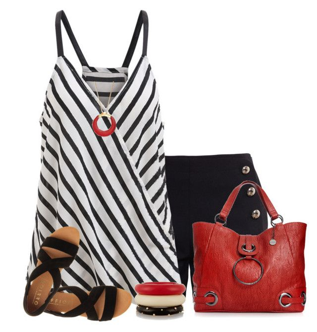 """Black & White Striped Spaghetti Top"" by daiscat ❤ liked on Polyvore featuring Chloé, Office, Kenneth Jay Lane, Big Buddha and Alexis Bittar"