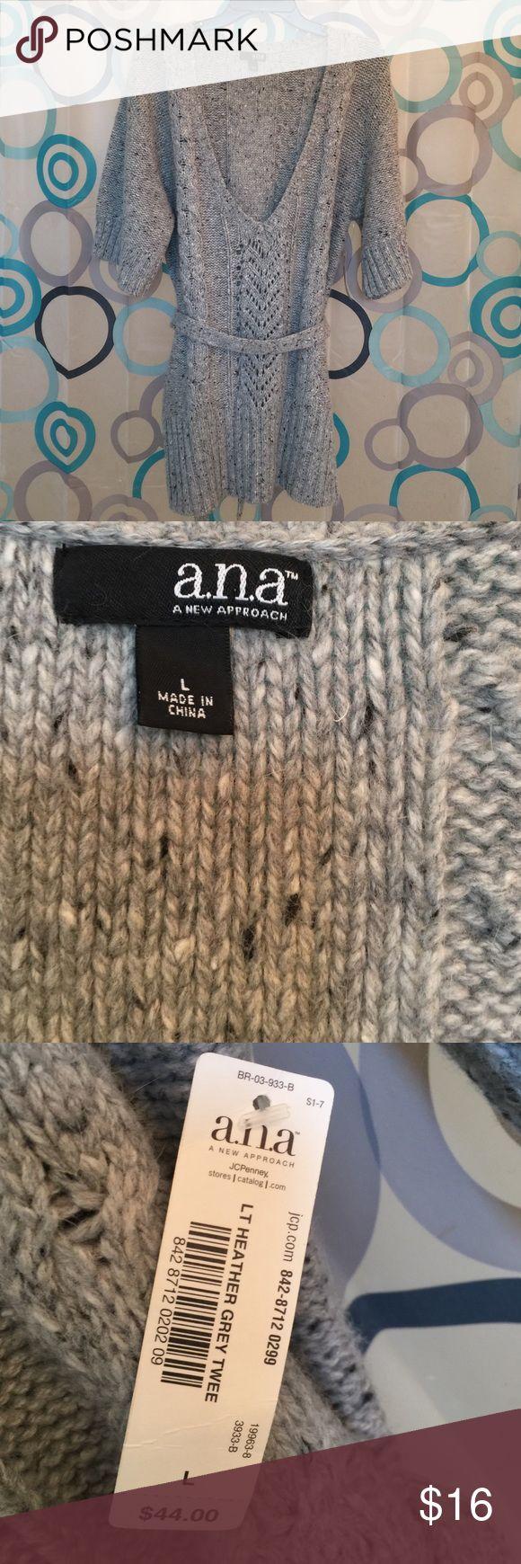 Ana heather gray sweater shirt sleeves, Large Ana belt tie new large gray Ana Sweaters
