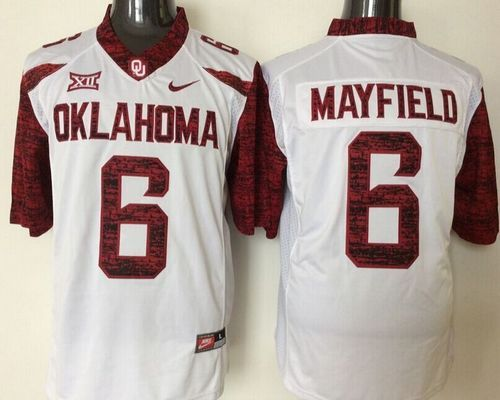 best sneakers f3635 bd596 Sooners #6 Baker Mayfield White New XII Stitched NCAA Jersey ...