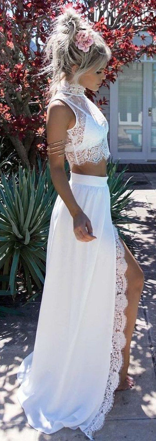 Two Piece Long White Prom Dress Outfit Ideas - Updo Hairstyles - MyBodiArt.com