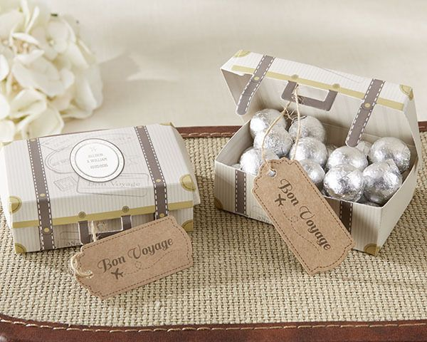 Personalized vintage themed favor boxes are made of printed cardstock from First Avenue Wedding Favors - Vintage Suitcase Wedding Favor Box (Set of 24), $41.28, but always volume discounts! (http://www.firstavenueweddingfavors.com/vintage-suitcase-wedding-favor-box-set-of-24/) #vintagethemedweddingfavorboxes