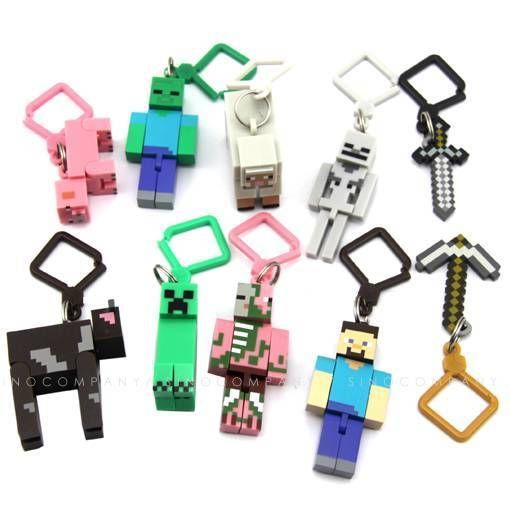 Lot Ten Minecraft Hanger Creeper Figure Backpack Keychain Clip 3D TOYS GIFT N348