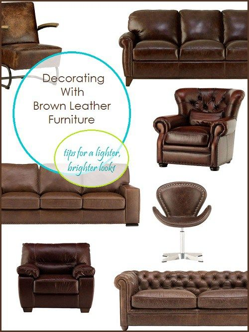 Decorating With Brown Leather Furniture -  tips for getting a lighter, brighter look in your living room or family room.  A blog with great decorating inspiration and design tips.