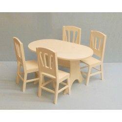 Meubles poupées table + 4 chaises