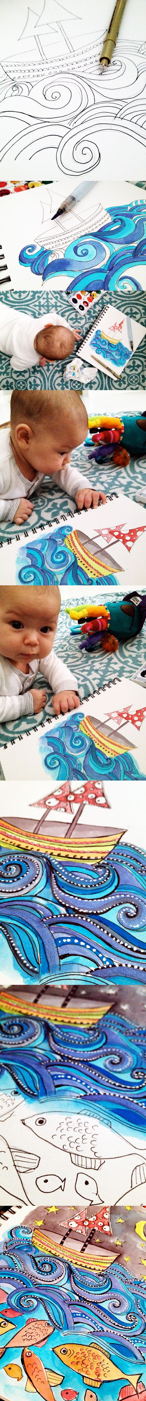 think about drawing a 7-layer story: Line Drawings, Pens Drawings Watercolor, Drawings Waves, Boats Drawings, Art Drawings, Doodles Art Ocean, Art Colour Boats, Drawings Boats, Colour Waves