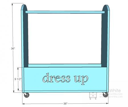 dress up storage solution - tutorial with drawings and materials list - Optional top shelf.  Could also do with board for hooks or knobs instead of rod.