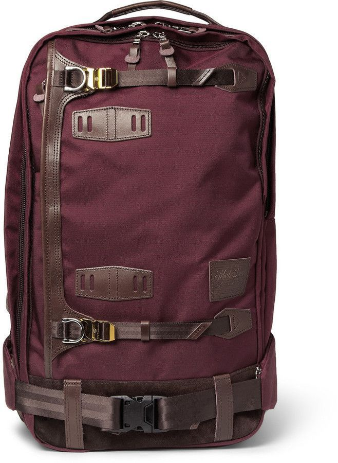 Master-Piece Potential Leather-Trimmed Cordura Backpack ♦F&I♦ Backpack Bags, Leather Backpack, Leather Bag, Brown Leather, Mochila Formal, My Bags, Purses And Bags, Fashion Bags, Mens Fashion
