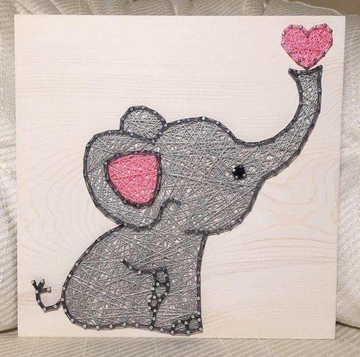 CUSTOM Baby Elephant String Art Sign - Love Art - Handmade nursery decor - Baby shower - Jungle animals - Baby girl - Christmas gift - Twins #baby #nursery #craft #AD #gift #stringart