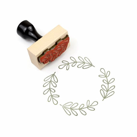 Rubber Stamp Olive Branch - DIY Flourish Border Packaging Stamp - Ready To Ship
