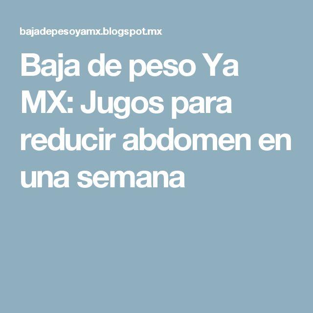 Baja de peso Ya MX: Jugos para reducir abdomen en una semana