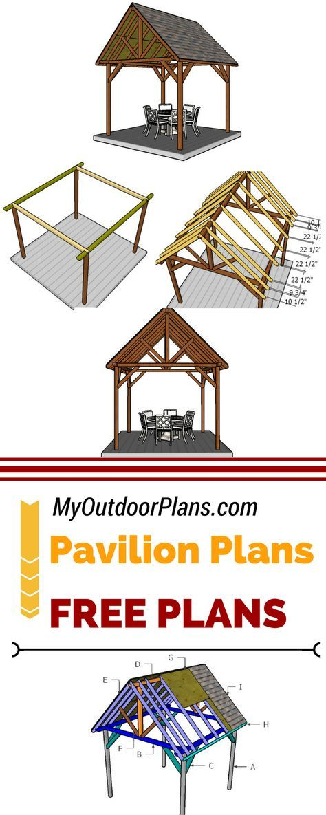 Learn how to build an outdoor pavilion with my easy to follow plans and instructions! Follow my step by step instructions and free backyard pavilion plans for a nice shaded area. See plans at myoutdoorplans.com #diy #pavilion