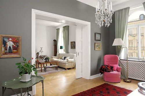 Love grey white and a pop of colour combo