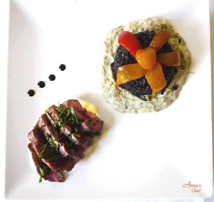 Tagliata di manzo e riso Nerone - Plasterki wołowiny i ryżu Nerone - Sliced beef and rice Nerone. - Chiedi la ricetta! zapytać o przepis! ask for the recipe! info@del-italy.com www.del-italy.com