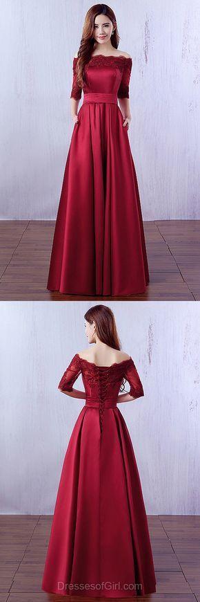 Cheap Prom Dresses, Off the Shoulder Prom Dress, Burgundy Evening Dresses, 1/2 Sleeve Party Dresses, Satin Formal Dresses
