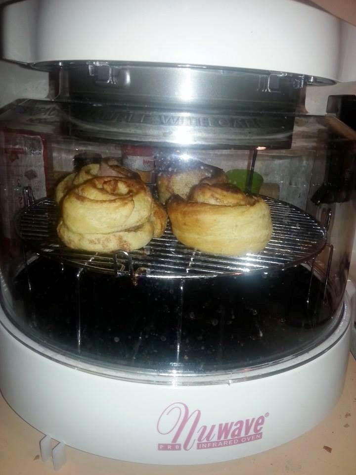 For a scrumptious breakfast, Stephanie S. baked these pre-packaged cinnamon rolls in her NuWave Oven on Power Level HI for 10-12 minutes.  What's your favorite breakfast to prepare in the NuWave Oven? Any unique recipes you'd like to share?