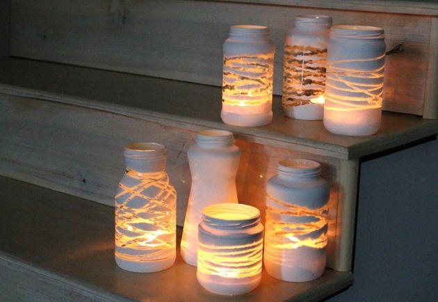 Velas hechas con frascos de vidrio