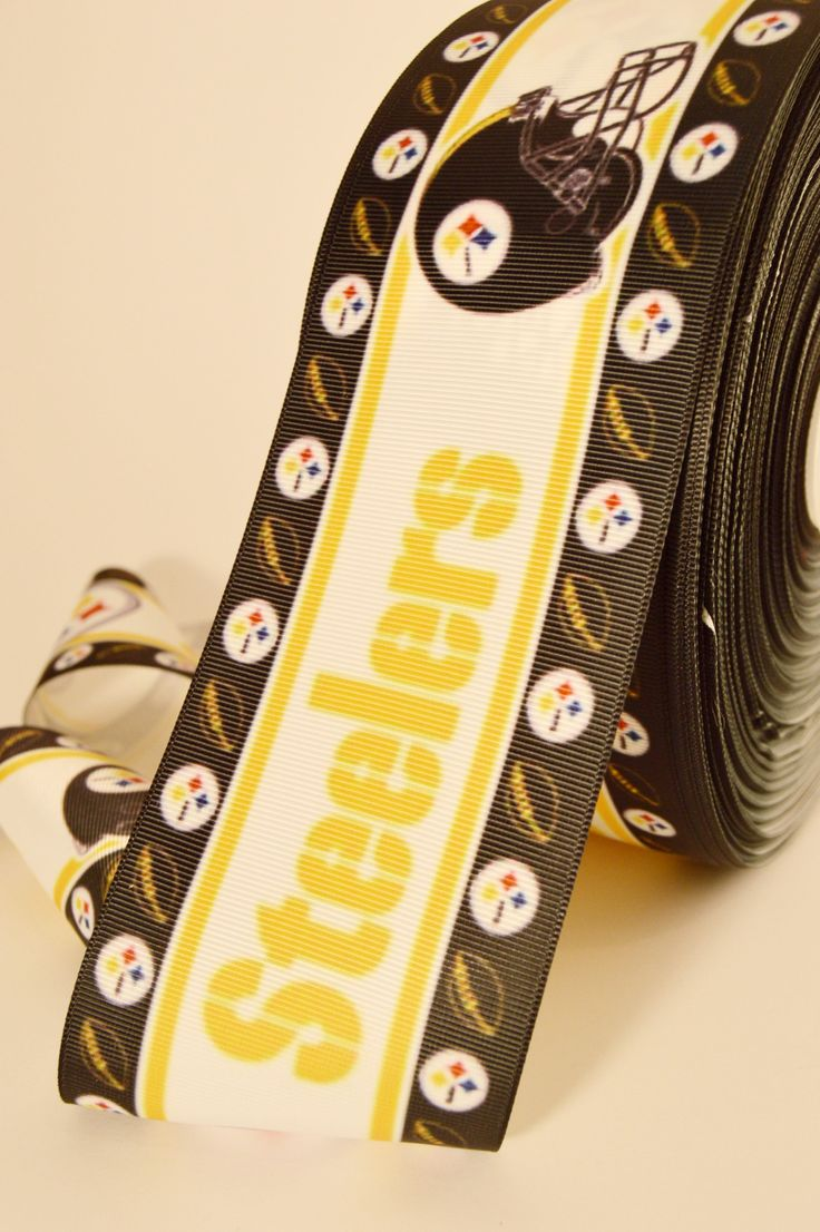 """3"""" Wide Pitsburgh Steelers Printed on White Grosgrain Cheer Bow Ribbon - Thermal printed on white polyester grosgrain ribbon Hard to find 3 inch wide cheer bow size! . Make your own cheer bows and sav"""