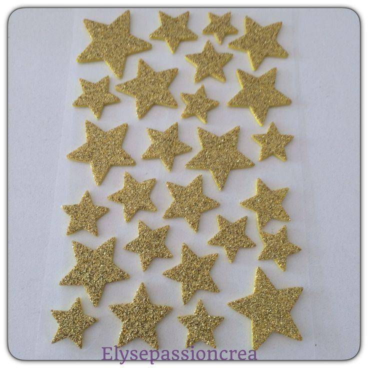 planche de 26 étoiles papier mousse brillant doré autocollants : Stickers, autocollants par elyse-passion-crea