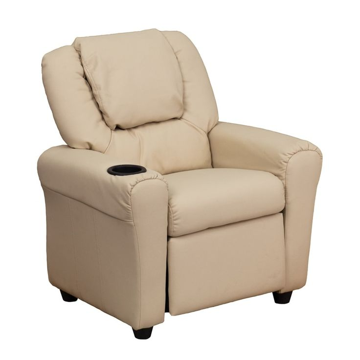 Offex Contemporary Beige Vinyl Kids Recliner with Cup Holder and Headrest [OF-DG-ULT-KID-BGE-GG] (Wood)