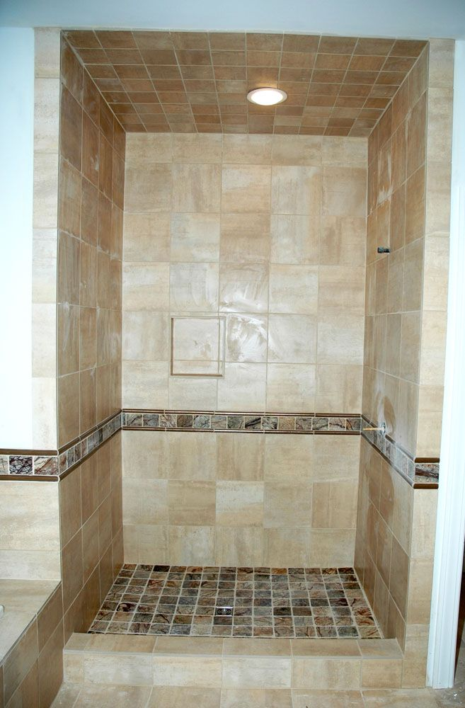 These four pictures show bathroom tile design in the