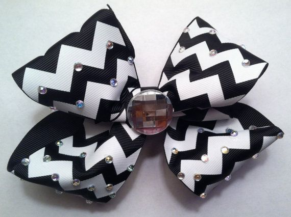 Girls Hair Bow Rhinestone Bling Black & White Large Hair Bow For Sale on Etsy!