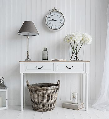 The Suffolk console table with 2 drawers. Decorate your hall in white. White hallway furniture fro Nordic, country, Beach and New England style homes