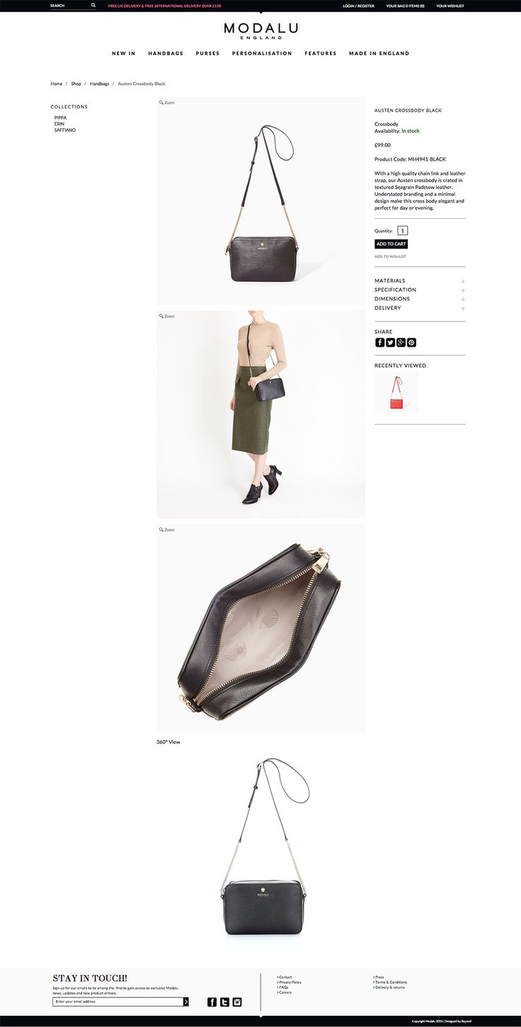 Nice clean product details page with centred images. No thumbnails - large images on page. #ecommerce #webdesign #layout #pdp #fashion #retail