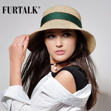 FURTALK  шляпа летняя для женщин соломенная шляпа женская панама пляжные солнечные шляпы для женщин(China (Mainland))