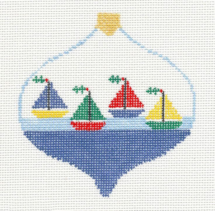 Kathy Schenkel 4 Sailboats Bauble Ornament handpainted Needlepoint Canvas...easy dyi