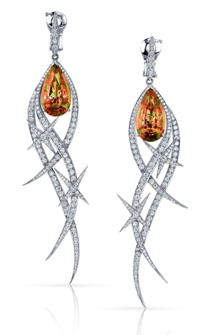 Stephen Webster. Couture Earrings with Zultanite in 18ct White Gold set with pave White Diamonds and pear shaped Zultanite stones. Price from £42,000.