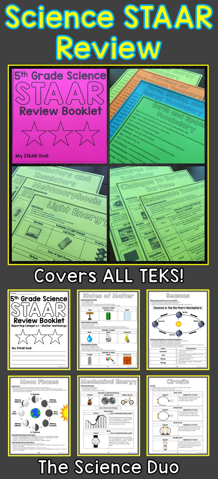 STAAR Science Review Booklet.  This resource includes all 4 Reporting Categories for the 5th Grade Science STAAR Test.