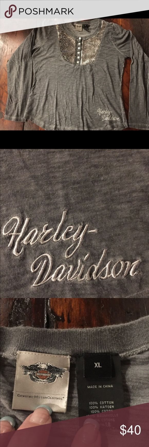 Harley Davidson shirt Size XL... bought from the Harley store. Super cute- loose fit and pretty sequins. Smoke free/ pet free home. Harley-Davidson Tops Tees - Long Sleeve