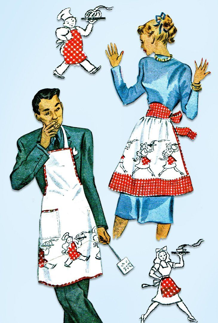 1940s Vintage McCall Sewing Pattern 1319 His and Hers Novelty Apron Fits All