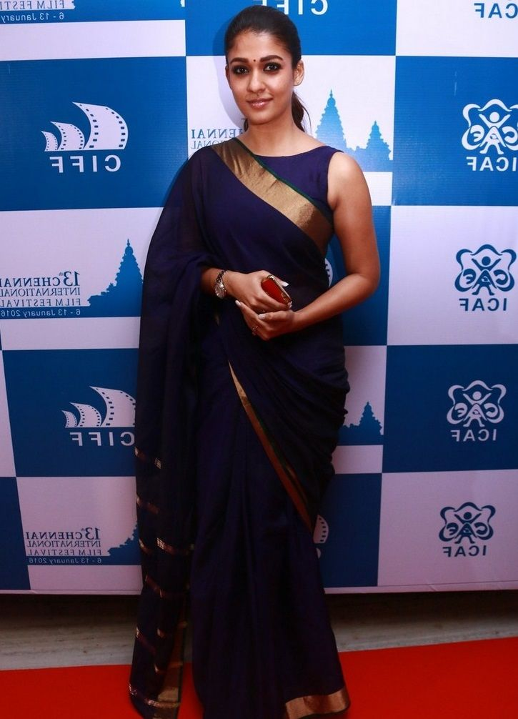 Nayantara Latest Stills In Very Hot Blue Saree - Tollywood Stars