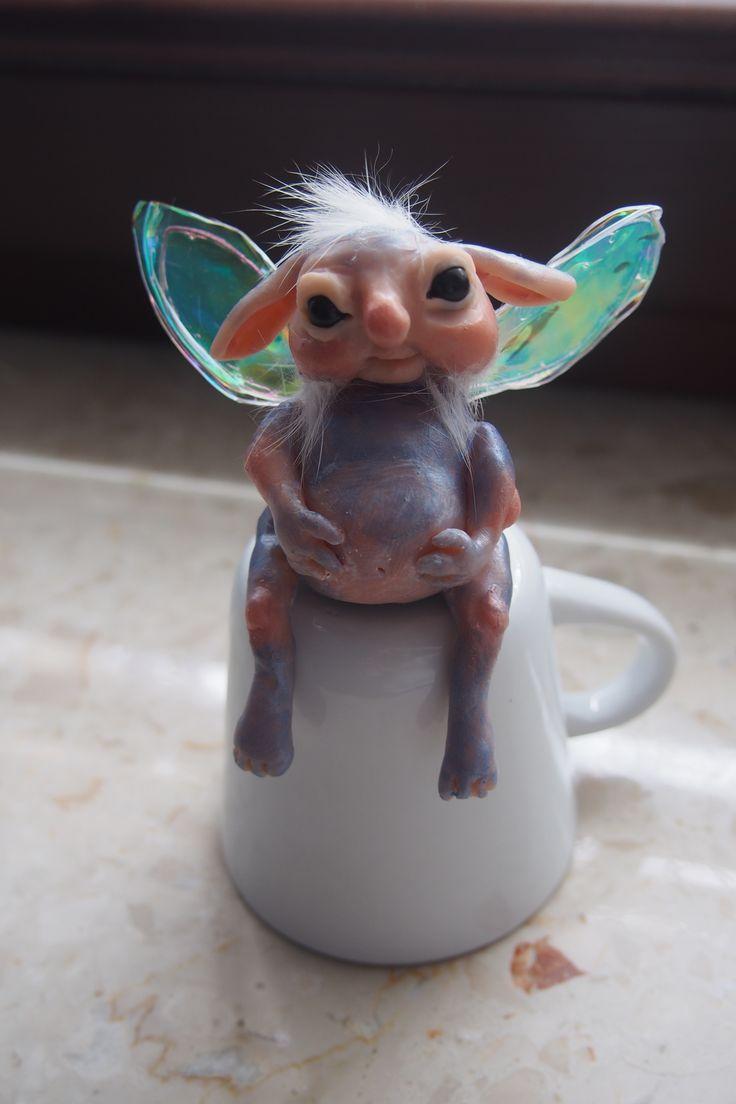 OOAK fantasy art doll little BLUE moon troll by muyestillo