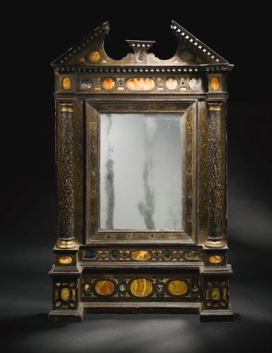 An Italian Antique Marble Inlaid Black Lacquer And Parcel