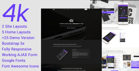 4k - Multipurpose One Page App Landing Page HTML