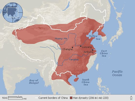 Map of chinas han dynasty 206 bc 220 ad the han dynasty is map of chinas han dynasty 206 bc 220 ad the han dynasty is divided into three epochs comprised of the western han circa 206 bc 25 ad t gumiabroncs Choice Image