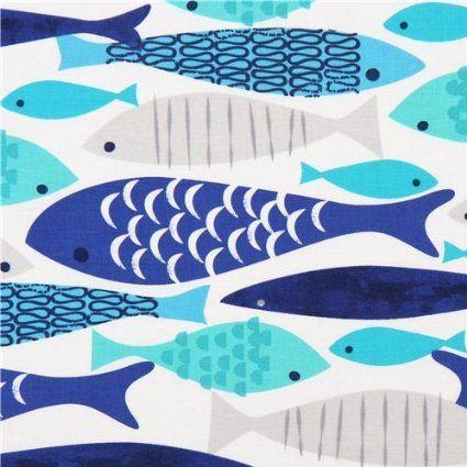 Tessuto bianco con pesci Mod Fish di Michael Miller, USA